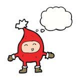 αστείος χαρακτήρας Χριστουγέννων κινούμενων σχεδίων με τη σκεπτόμενη φυσαλίδα Στοκ εικόνες με δικαίωμα ελεύθερης χρήσης