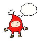 αστείος χαρακτήρας Χριστουγέννων κινούμενων σχεδίων με τη σκεπτόμενη φυσαλίδα Στοκ φωτογραφία με δικαίωμα ελεύθερης χρήσης