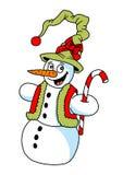 Αστείος χιονάνθρωπος κινούμενων σχεδίων, απεικόνιση, θέμα Chritmas Στοκ Εικόνες