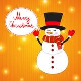 Αστείος χιονάνθρωπος κινούμενων σχεδίων στο υπόβαθρο Χριστουγέννων. Στοκ Εικόνα