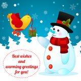 Αστείος χιονάνθρωπος κινούμενων σχεδίων στο υπόβαθρο Χριστουγέννων. Στοκ Φωτογραφία