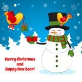 Αστείος χιονάνθρωπος κινούμενων σχεδίων στο υπόβαθρο Χριστουγέννων. Στοκ Εικόνες