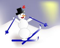 Αστείος χιονάνθρωπος που κάνει σκι στα βουνά διανυσματική απεικόνιση