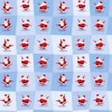 Αστείος χορεύοντας Άγιος Βασίλης στο χαριτωμένο ύφος κινούμενων σχεδίων Άνευ ραφής ανασκόπηση επίσης corel σύρετε το διάνυσμα απε Στοκ Εικόνα