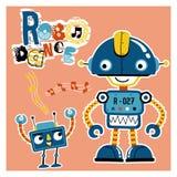 Αστείος χορός κινούμενων σχεδίων ρομπότ διανυσματική απεικόνιση