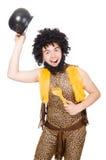 Αστείος caveman το δοχείο που απομονώνεται με Στοκ Φωτογραφίες
