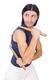 Αστείος karate μαχητής με τα nunchucks Στοκ φωτογραφία με δικαίωμα ελεύθερης χρήσης