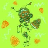 Αστείος papuan με τη μάσκα και το ντέφι διανυσματική απεικόνιση