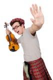 Αστείος scotsman με το βιολί Στοκ Φωτογραφίες