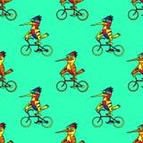 Αστείο άνευ ραφής σχέδιο ποδηλάτων πουλιών οδηγώντας Στοκ εικόνες με δικαίωμα ελεύθερης χρήσης