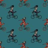 Αστείο άνευ ραφής σχέδιο ποδηλάτων πουλιών οδηγώντας Στοκ εικόνα με δικαίωμα ελεύθερης χρήσης