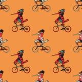 Αστείο άνευ ραφής σχέδιο ποδηλάτων πουλιών οδηγώντας Στοκ φωτογραφία με δικαίωμα ελεύθερης χρήσης