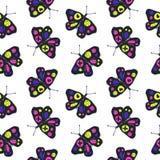 Αστείο άνευ ραφής σχέδιο σκίτσων με τις πεταλούδες χρώματος διανυσματική απεικόνιση