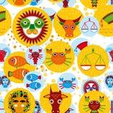 Αστείο άνευ ραφής σχέδιο με zodiac το ωροσκόπιο σημαδιών Στοκ εικόνα με δικαίωμα ελεύθερης χρήσης