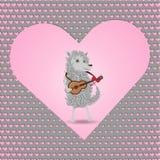 Αστείο άσπρο χνουδωτό σκυλί κινούμενων σχεδίων που παίζει μια κιθάρα που τραγουδά για την αγάπη διανυσματική απεικόνιση
