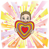 Αστείο άτομο κινούμενων σχεδίων που προσφέρει την καρδιά του απεικόνιση αποθεμάτων