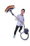 Αστείο άτομο με την ηλεκτρική σκούπα Στοκ εικόνες με δικαίωμα ελεύθερης χρήσης