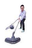 Αστείο άτομο με την ηλεκτρική σκούπα Στοκ εικόνα με δικαίωμα ελεύθερης χρήσης