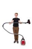 Αστείο άτομο με την ηλεκτρική σκούπα Στοκ Εικόνες