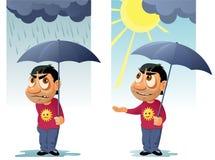 Αστείο άτομο με την ομπρέλα Η βροχή τελείωσε και ο ήλιος βγήκε Στοκ Φωτογραφίες
