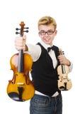Αστείο άτομο με το βιολί Στοκ Φωτογραφία