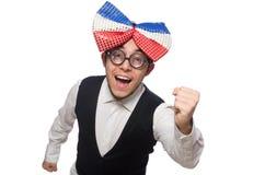 Αστείο άτομο με το γιγαντιαίο δεσμό τόξων στοκ εικόνες με δικαίωμα ελεύθερης χρήσης