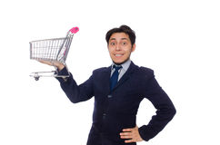 Αστείο άτομο με το κάρρο αγορών που απομονώνεται στο λευκό Στοκ φωτογραφίες με δικαίωμα ελεύθερης χρήσης