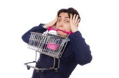 Αστείο άτομο με το κάρρο αγορών που απομονώνεται στο λευκό Στοκ Φωτογραφία
