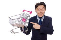 Αστείο άτομο με το κάρρο αγορών που απομονώνεται στο λευκό Στοκ Φωτογραφίες