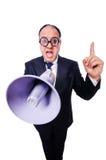 Αστείο άτομο με το μεγάφωνο Στοκ Εικόνες
