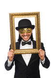 Αστείο άτομο με το πλαίσιο εικόνων στο λευκό Στοκ Εικόνες
