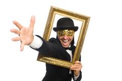 Αστείο άτομο με το πλαίσιο εικόνων στο λευκό Στοκ φωτογραφία με δικαίωμα ελεύθερης χρήσης