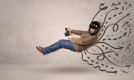 Αστείο άτομο που οδηγεί ένα πετώντας όχημα με συρμένες τις χέρι γραμμές μετά από το χ Στοκ εικόνες με δικαίωμα ελεύθερης χρήσης