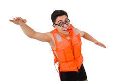 Αστείο άτομο που φορά την πορτοκαλιά φανέλλα ασφάλειας Στοκ φωτογραφίες με δικαίωμα ελεύθερης χρήσης