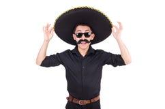 Αστείο άτομο το μεξικάνικο καπέλο σομπρέρο που απομονώνεται που φορά Στοκ Φωτογραφίες