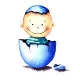 Αστείο λίγο αγοράκι γεννήθηκε από ένα αυγό που εκκολάφθηκε Νεογέννητη απεικόνιση watercolor παιδιών για τη ευχετήρια κάρτα, αυτοκ Στοκ Εικόνες
