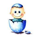 Αστείο λίγο αγοράκι γεννήθηκε από ένα αυγό που εκκολάφθηκε Νεογέννητη απεικόνιση watercolor παιδιών για τη ευχετήρια κάρτα, αυτοκ Στοκ Φωτογραφία