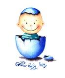 Αστείο λίγο αγοράκι γεννήθηκε από ένα αυγό που εκκολάφθηκε Νεογέννητη απεικόνιση watercolor παιδιών για τη ευχετήρια κάρτα, αυτοκ Στοκ φωτογραφίες με δικαίωμα ελεύθερης χρήσης