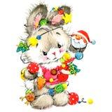 Αστείο λαγουδάκι και νέο χαριτωμένο λαγουδάκι έτους υποβάθρου watercolor Χριστουγέννων Στοκ Εικόνες