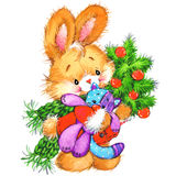 Αστείο λαγουδάκι και νέο χαριτωμένο λαγουδάκι έτους υποβάθρου watercolor Χριστουγέννων Στοκ φωτογραφία με δικαίωμα ελεύθερης χρήσης
