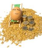 Αστείο αυγό και ευρο- νομίσματα με τους σπόρους Στοκ εικόνες με δικαίωμα ελεύθερης χρήσης