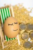 Αστείο αυγό και ευρο- νομίσματα με τους σπόρους Στοκ Φωτογραφία