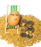 Αστείο αυγό και ευρο- νομίσματα με τους σπόρους Στοκ εικόνα με δικαίωμα ελεύθερης χρήσης