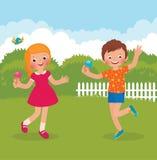 Αστείο ευτυχές καλοκαίρι παιδιών διανυσματική απεικόνιση