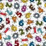 Αστείο ζωηρόχρωμο άνευ ραφής σχέδιο αριθμών κινούμενων σχεδίων διανυσματική απεικόνιση