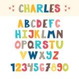 Αστείο ζωηρόχρωμο συρμένο χέρι αγγλικό αλφάβητο Χαριτωμένοι επιστολές και αριθμοί font απεικόνιση αποθεμάτων