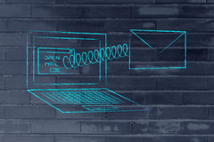 Αστείο ηλεκτρονικό ταχυδρομείο που βγαίνει από μια οθόνη υπολογιστή με ένα ελατήριο Στοκ Εικόνες