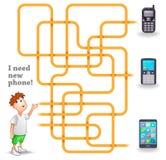 Αστείο διανυσματικό παιχνίδι λαβυρίνθου: Αγόρι και νέο κινητό τηλέφωνο Στοκ Εικόνες