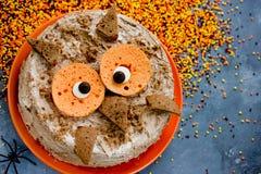 Αστείο κέικ για το κόμμα αποκριών, ζωικός-διαμορφωμένο κέικ κουκουβαγιών, chocolat Στοκ φωτογραφία με δικαίωμα ελεύθερης χρήσης