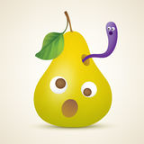 Αστείο κίτρινο αχλάδι με το σκουλήκι Στοκ Φωτογραφίες